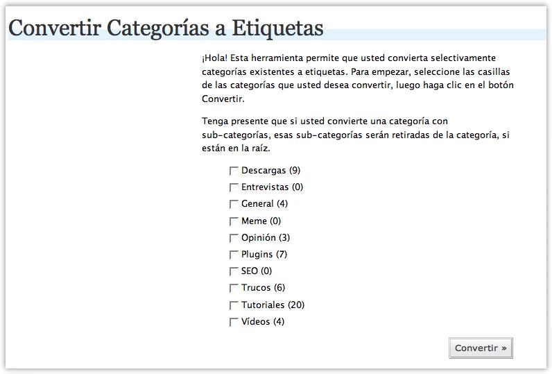 convertir categorías a tags