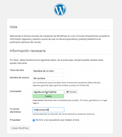 instalar WordPress paso 4