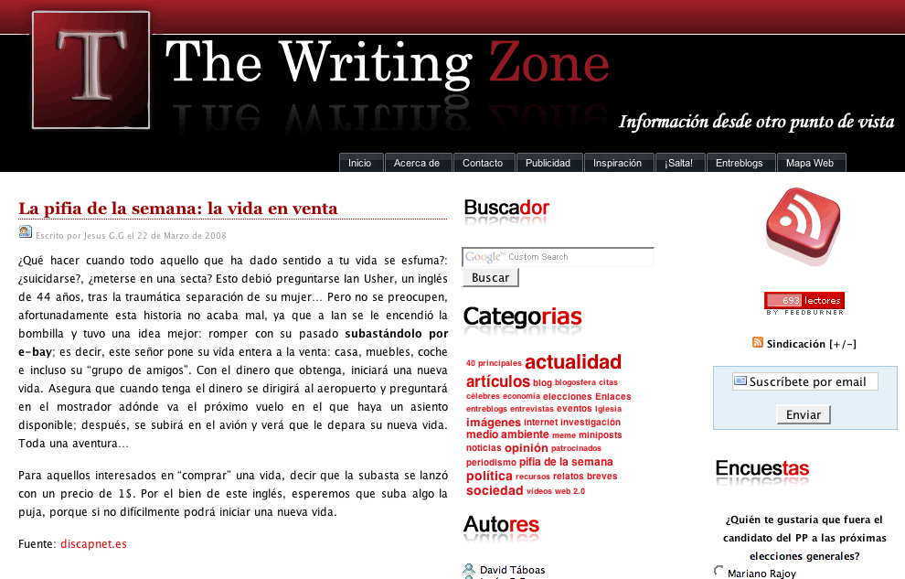 Blog del lector: The Writing Zone