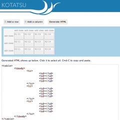 Kotatsu – Crea tablas en HTML