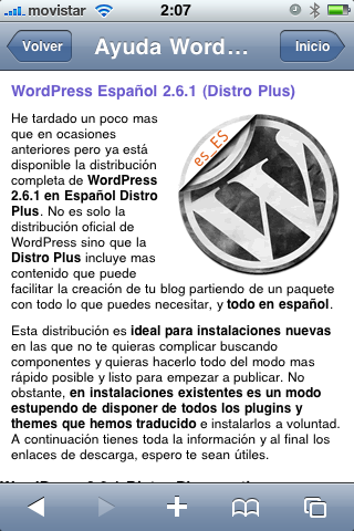 Ayuda WordPress iPhone