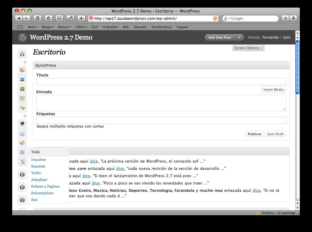 Las novedades de wordpress 2 7 ayuda wordpress for Las novedades