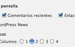 WordPress 2.8 – Columnas en el Tablero