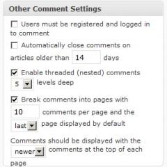 Opciones de comentarios distintas en cada post