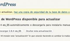 WordPress 2.8.4 disponible … de nuevo