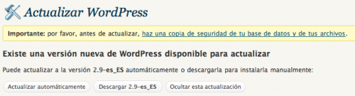 wordpress 2.9 español