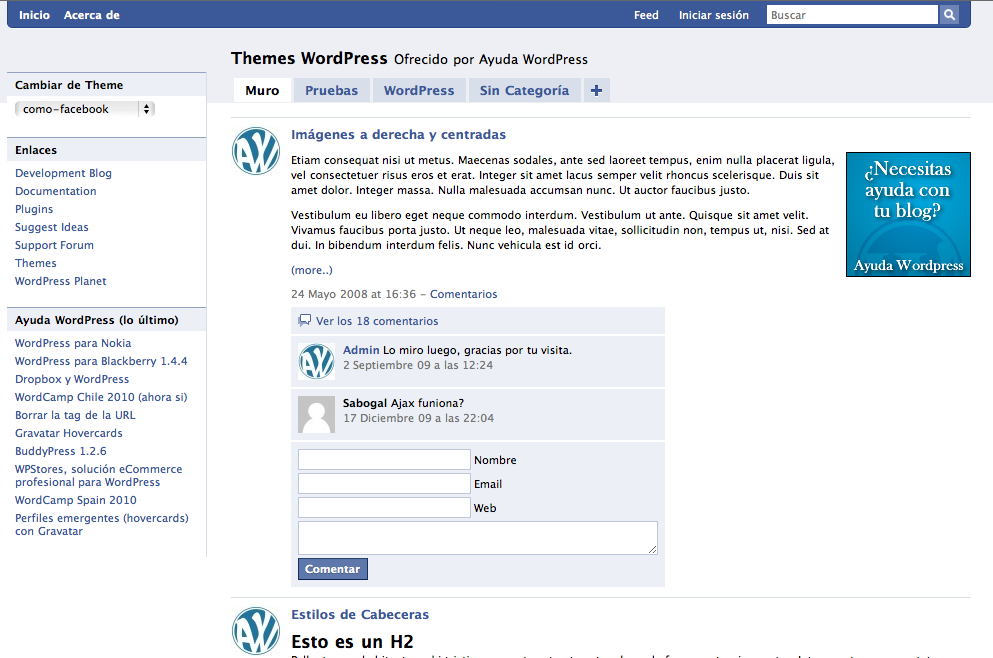 Tema WordPress en español: Como Facebook • Ayuda WordPress
