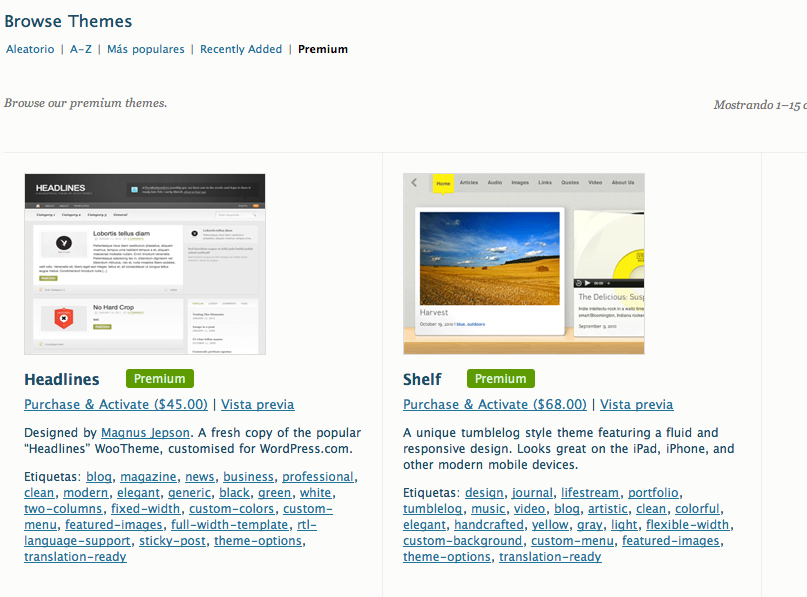 Temas de pago en WordPress.com • Ayuda WordPress