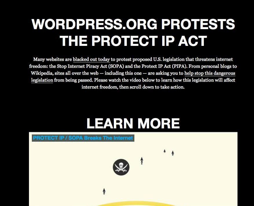 WordPress.org y WordPress.com se suman al apagón contra #SOPA