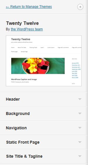 WordPress 3.4: Nueva ventana de personalización del tema Twenty Twelve