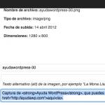 Enlaces en la leyenda (caption) de imágenes en WordPress 3.4