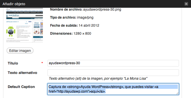 Enlaces en la leyenda (caption) de imágenes en WordPress 3.4