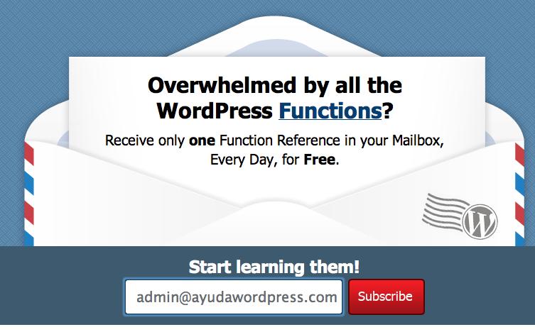 Una función WordPress en tu correo, cada día
