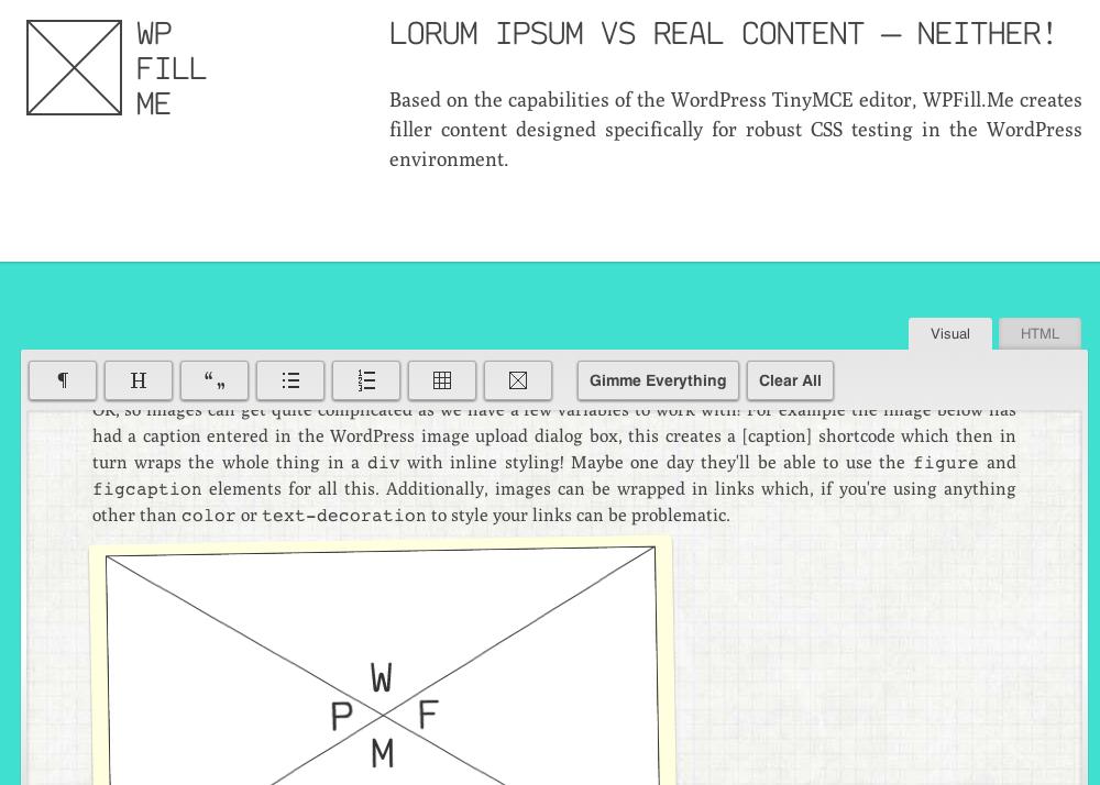 Mejor contenido real que «lorem ipsum» para probar temas WordPress