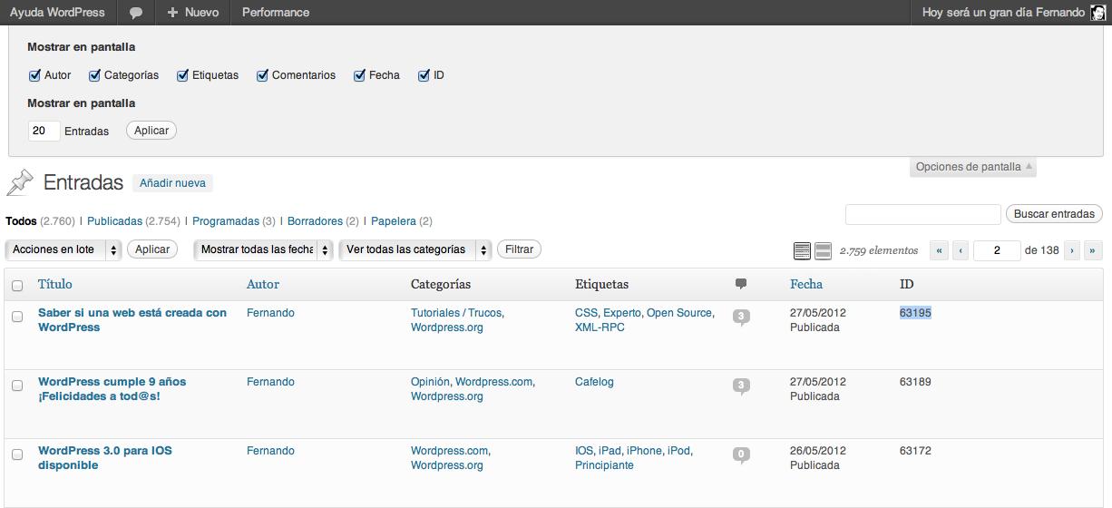 Añadir una columna para ver el ID de una entrada WordPress