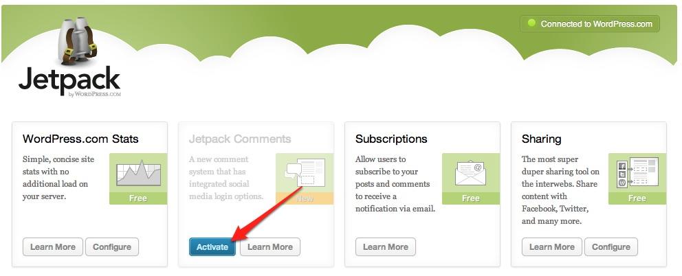Comentarios al estilo WordPress.com con JetPack 1.4
