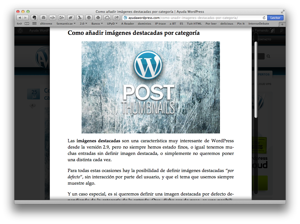 Modo «Lector» en WordPress