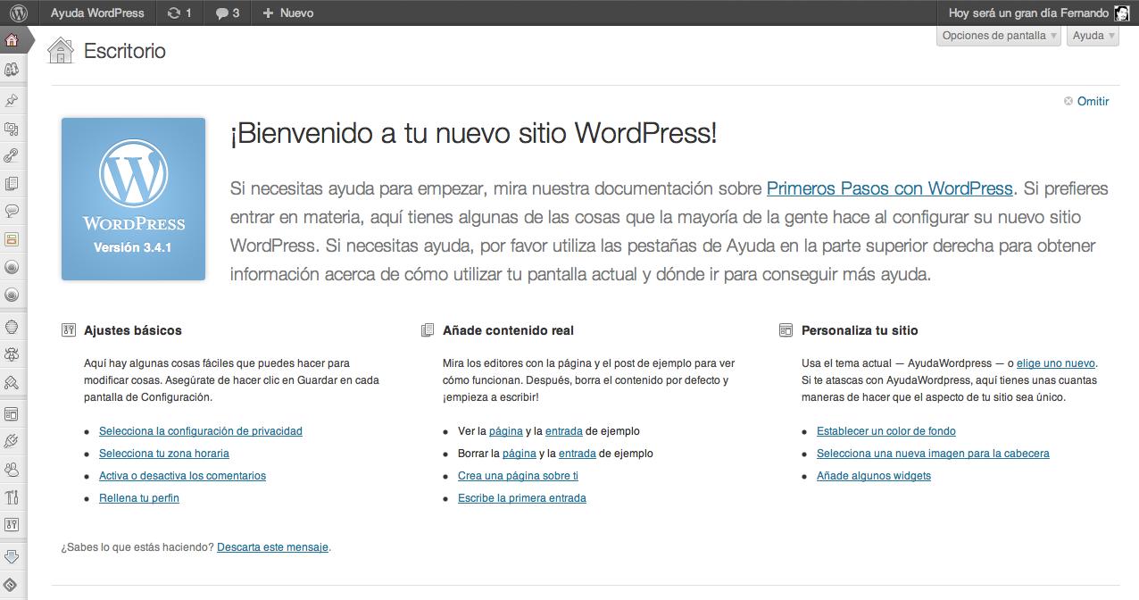 Ocultar el panel de bienvenida en WordPress