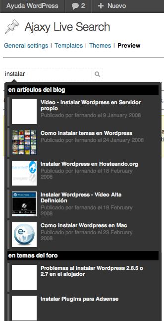 Formulario de búsqueda instantánea en WordPress
