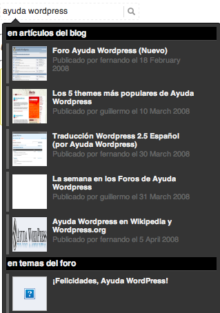 Búsquedas instantáneas en WordPress (como en Facebook)