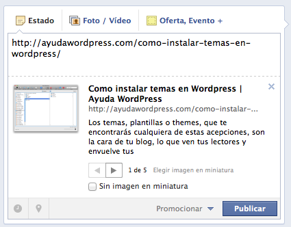 compartir de wordpress a facebook