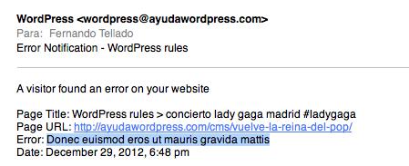 email aviso de error