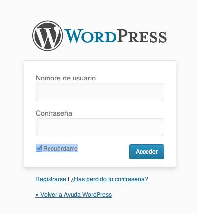 acceder a la administración de WordPress