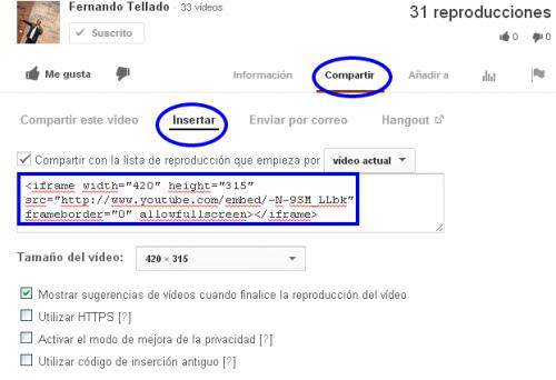 codigo iframe youtube para insertar en wordpress