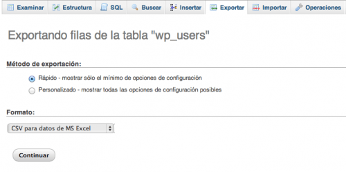 exportar usuarios wordpress phpmyadmin