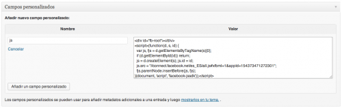 insertar javascript wordpress con campo personalizado