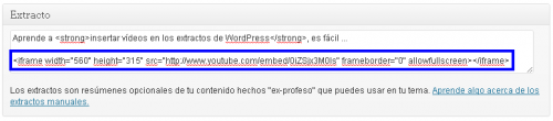 insertar videos en extractos wordpress