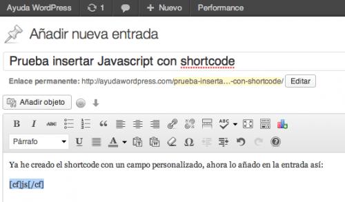 shortcode insertar javascript en wordpress