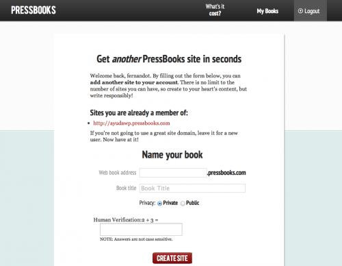 crear nuevo libro pressbooks