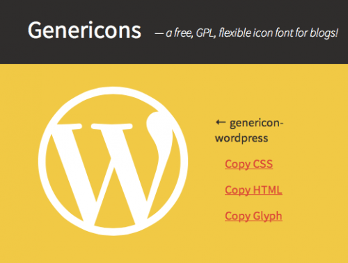 genericons wordpress