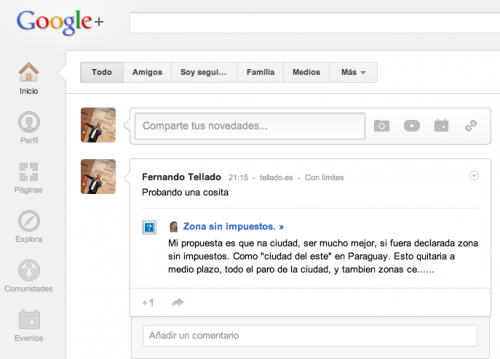 comentario de wordpress en google+