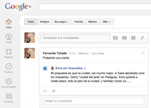 comentario de wordpress en google+