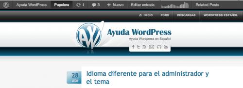 enlace papelera barra admin wordpress