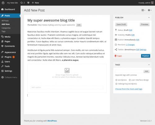 editor futuro wordpress 3.x bloque elegido