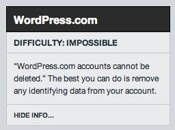 imposible borrar cuenta wordpress.com