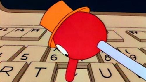 homer simpson teclado trabajo automatico en casa obeso