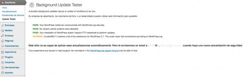 comprobar actualizaciones wordpress