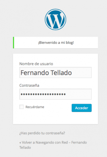 mensaje personalizado en login wordpress