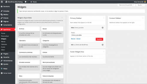 widgets wordpress 3.8