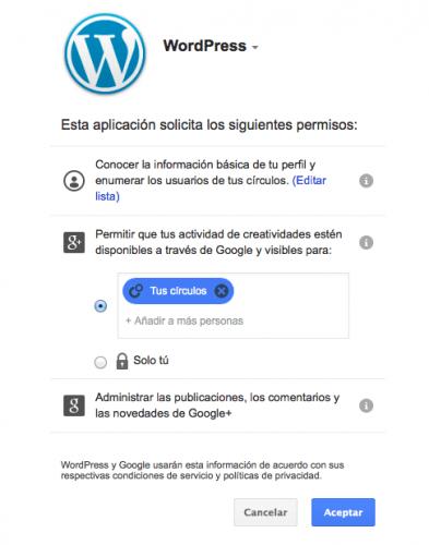 publicación automática wordpress google plus