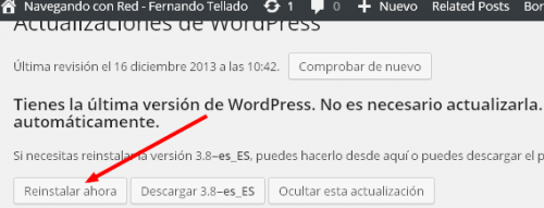 reinstalar wordpress 3.8