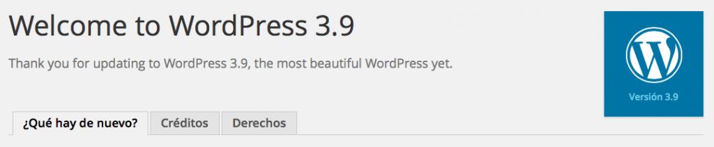 bienvenido a wordpress 3.9