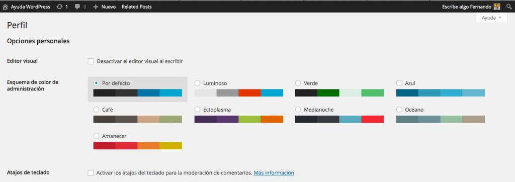 esquemas de color admin wordpress