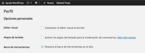 sin esquemas de color admin wordpress
