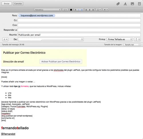 ejemplo de publicar por email wordpress con jetpack