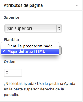 elegir plantilla de pagina sitemap